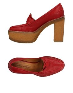 Veronique Branquinho Women Loafers on YOOX. The best online selection of Loafers Veronique Branquinho. YOOX exclusive items of Italian and international designers - Secure payments Veronique Branquinho, Loafers For Women, Peep Toe, Footwear, Heels, Red, Leather, Shopping, Products
