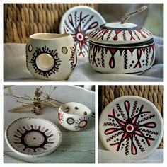 Seturi Decorative Handmade Decorative Clay Pots, Sugar Bowl, Bowl Set, Christmas Ornaments, Holiday Decor, Kitchen, Handmade, Home Decor, Cooking