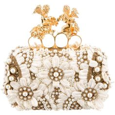Pre-owned Alexander McQueen Embellished Knuckle Duster Box Clutch (2,177,320 KRW) ❤ liked on Polyvore featuring bags, handbags, clutches, white, white purse, embroidered handbags, alexander mcqueen clutches, white clutches and handbags clutches