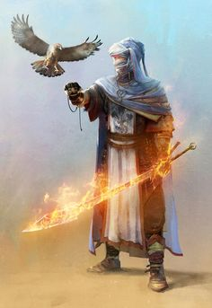 Fire mage with a falcon