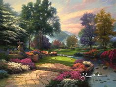 Thomas Kinkade - Living Waters, Golfer's Paradise  2005