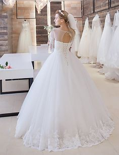 Ball Gown Wedding Dress Sweep / Brush Train Scoop Satin / Tulle with Appliques 4932404 2016 – $159.99