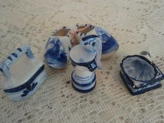 Delft Miniature Collectibles,Blue and White Wooden shoes,Pitcher Pump,Iron,Phonograph, Vintage Doll House Miniatures