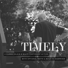Timely Black & White Photoshop Action - Classic Black and White with adjustable Matte Photoshop Actions For Photographers, Your Image, Photo Editing, Black And White, Portrait, Classic, Photography, Beautiful, Style