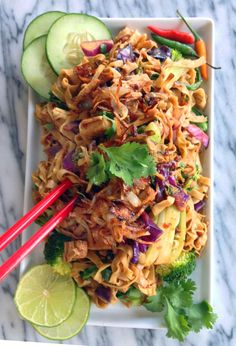 Spicy Indonesian Noodles -Mie Goreng - with Vegan Chicken (and Crispy Shallots)