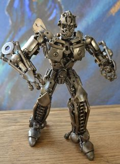 "Hand Made BUMBLEBEE  TRANSFORMERS 12""  Recycled Scrap Metal Sculpture. $115.00, via Etsy."
