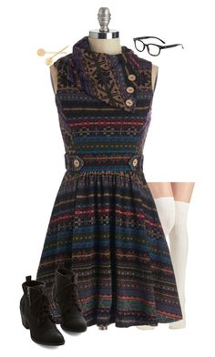 """ModCloth"" by samanthahac ❤ liked on Polyvore featuring women's clothing, women's fashion, women, female, woman, misses, juniors and plus size dresses"