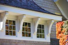 "Lake House Interior Ideas - corbels between windows -- ""Trim Paint Color"" (Benjamin Moore Winter White) Cottage Exterior, Exterior Trim, Exterior Design, Corbels Exterior, Exterior Windows, Roof Design, Exterior Paint, House Trim, Dormer Windows"