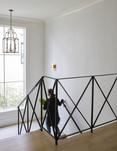 Iron Staircase Railing with Iron and Glass Lantern - Transitional - Entrance/foyer Iron Staircase, Iron Stair Railing, Staircase Railings, Staircases, Interior Railings, Bannister, Entry Stairs, Entrance Foyer, Stair Gallery