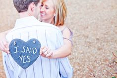 """""""I said yes"""" chalkboard heart engagement pic. (@Megan Liddle) Photography by carlagatesphotography.com"""