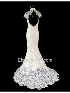 Ivory Lace Cap Sleeve Sweep Train Mermaid Cheongsam Dress (EFU054)