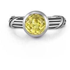 Peter Thomas Roth Fantasies Lemon Quartz Solitaire Bezel Ring In... ($250) ❤ liked on Polyvore featuring jewelry, rings, heart jewelry, jewel solitaire, round solitaire, lemon quartz ring and sterling silver heart ring