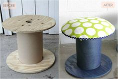 DIY: Electrical Spool Stools |The Lovely Cupboard  Like the idea - use different fabric.