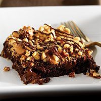 Warm Nutty Caramel Brownies... death by chocolate in a bar pan!