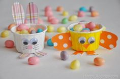 Mini Chick and Bunny Party Cups Craft filled with candy at HappyClippings.com