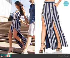 Steffy's striped top and split-front pants on The Bold and the Beautiful.  Outfit Details: https://wornontv.net/67548/ #TheBoldandtheBeautiful