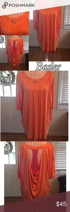 BASLER STYLISH HI-LO TOP Basler orange hi-lo top. Embroidery neck line. Dolman sleeves. Draped open back with pink center. Excellent condition. No size tag. Would fit medium/large.  100% Viscose Basler Tops