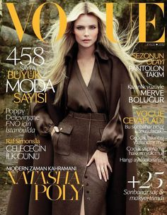 Stunning cover of Natasha Poly for Vogue Turkey, September 2012. Shot by Cuneyt Akeroglu, Natasha wears a pencil skirt with a wool cape. Loving the fall colors and look!