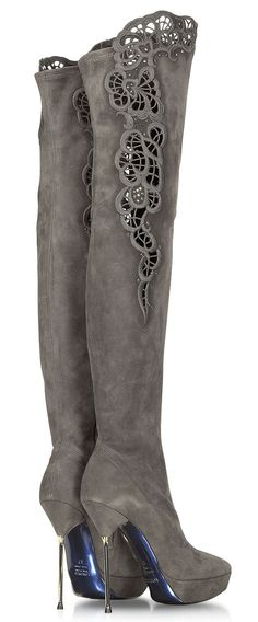 bf58f5292c9c Thigh high boots and jeans chunky heels fashion