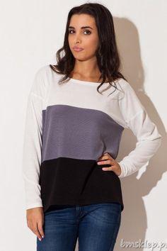 Trzykolorowy sweter z dekoltem łódką, z wydłużonym tyłem, luźny, wygodny, nie krępujący ruchów.... #Swetry - http://bmsklep.pl/swetry