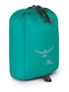 Osprey Packs Osprey Ultralight Stuff Sack 3 , Tropic Teal, o/s, One Size. Easy pull Cinch open/closure. Rectangular shape for efficient packing. Sewn loop on bottom for inverted hanging.