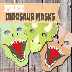 Printable Dinosaur Masks Templates (free is part of Kids Crafts Dinosaurs Awesome Raawr! I'm a Dinosaur! I hope you (and your kids) will have lots of fun playing with these printable dinosaur mask - Dinosaurs Preschool, Dinosaur Activities, Activities For Kids, Dinosaur Crafts Kids, Dinosaurs For Kids, Dinosaur Printables, Vocabulary Activities, Dinasour Crafts, Dinosaur Halloween