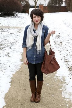 shine; leggings, denim shirt, boots, statement necklace