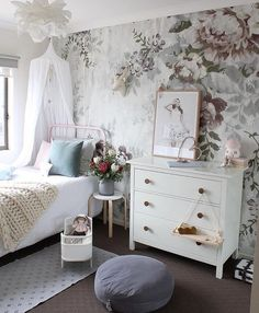 The bedroom of a little girl's dreams - I absolutely love the florals and delicate details
