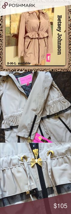 BETSEY JOHNSON Peplum Jacket (multi weather)  NWT Size S, M & L avail NOW! I have sold several of these in different colors & have received nothing but great feedback-very happy ladies! The inner lining can be taken out for lighter wear and used all year! Lining for winter removable, lighter wear for breezy days! Material is amazing! Ultra stylish! Beautiful statement piece and can be worn comfortably with anything! This color is a must have! Easy care, too! NWT FRM manufacturer/Multi sizes…