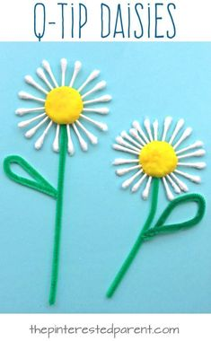 Daisy Craft Q-tip Cotton swap daisies. Flower arts and crafts for kids. Great for summer or spring.Q-tip Cotton swap daisies. Flower arts and crafts for kids. Great for summer or spring. Spring Crafts For Kids, Diy For Kids, Spring Crafts For Preschoolers, Arts And Crafts For Kids Toddlers, Spring Flowers Art For Kids, Mothers Day Crafts For Kids, Garden Crafts For Kids, Children Crafts, Toddler Summer Crafts