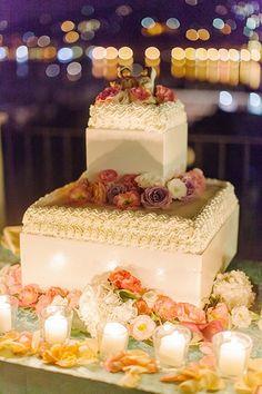two tier sponge cake with lemon cream