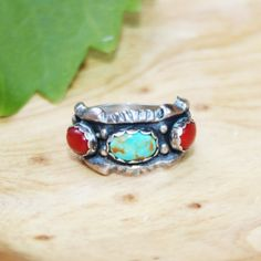 TURQUOISE & CORAL RING by wildnovajewelry on Etsy, $35.00