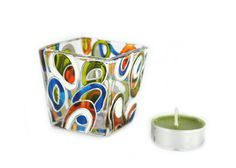 Glass  Candle Holder Tea light Hand Painted mini candle holder hand painted glass stained glass  White  blue green orange abstract design on Etsy, $30.00