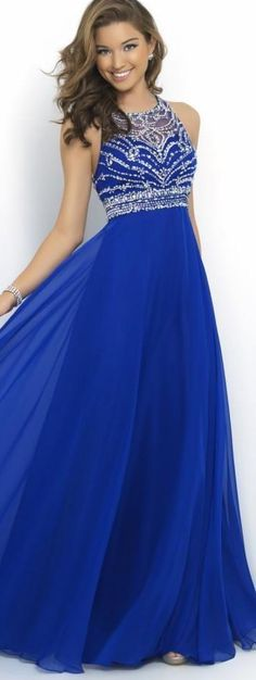 In Stock Arabic 2016 Sheer Royal Blue Chiffon A-Line Prom Dresses Cross Back Sparkly Beading Long Evening Runway Celebrity Party Gowns
