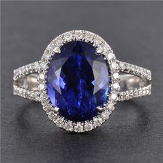CERTIFIED 3.9CT 18KT WHITE GOLD OVAL NATURAL TANZANITE PAVE HALO DIAMOND RING