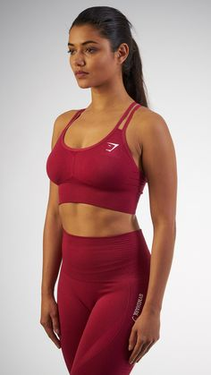 Seamless evolution. The Seamless Cross-Back Sports Bra in Beet is a beautiful and comfortable addition to any workout, finished with our classic seamless knit.