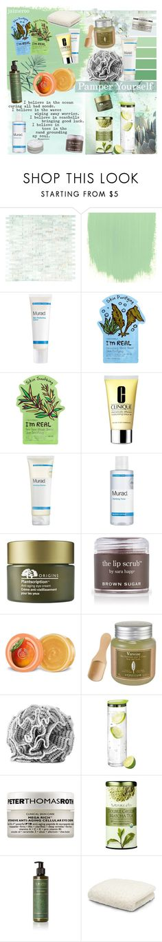 """""""Pamper Yourself"""" by jaimeroo ❤ liked on Polyvore featuring beauty, WALL, Murad, Tony Moly, Clinique, Origins, Sara Happ, The Body Shop, L'Occitane and blomus"""