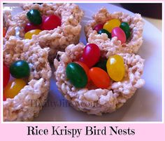 The kids will love these - Thrifty Jinxy: Rice Krispy Bird Nests - An Edible Easter Basket!