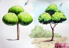 <기초 풍경수채화> 나무의 양감 표현 2 : 네이버 블로그 Landscape Sketch, Landscape Drawings, Watercolor Landscape, Watercolor Paintings, Art Drawings, Watercolor Lesson, Watercolor Painting Techniques, Watercolour Tutorials, Painting For Kids