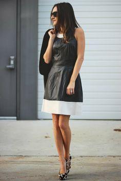 Color block leather dress