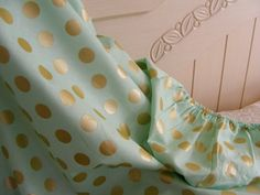 Fitted Crib Nursery Sheet Mint Gold Pearl by ThePincushionStore