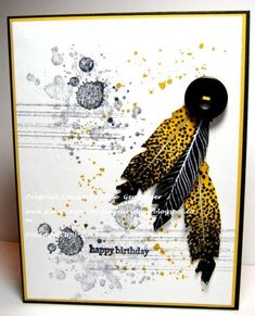 CAS Four Feathers Masculine Birthday by Julie Gearinger - Cards and Paper Crafts at Splitcoaststampers