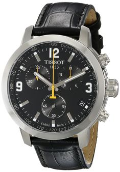 Tissot Cuir Bracelet Cadran Noir Homme Montre Quartz - T055.417.16.057.00