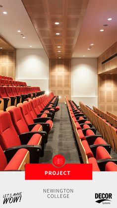 Built by Watpac, the two-storey Newington College Drama Centre features a 190-seat theatre, large performance stage and entry forecourt. DecorTrend slotted acoustic panels add style and acoustic control to the auditorium, and are fire rated to comply with the space's building regulations. Click through to learn more about this project! #theatredesign #designinspiration #commercialdesign #theatres #acousticdesign #acousticpanels Acoustic Design, Theatre Design, Acoustic Panels, Theatres, Auditorium, Commercial Design, Centre, Two By Two, Stage