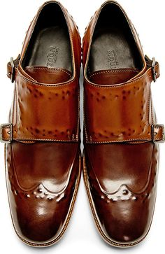 a6353232cc904 Brown Studded Monk Strap Shoes   Alexander McQueen. Fly Shoes