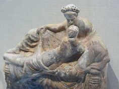 Terracotta statuette of two lovers on a couch Greek Asia Minor Myrina 2nd-1st century BCE