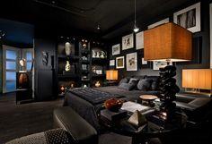 bonito cuarto soltero color oscuro
