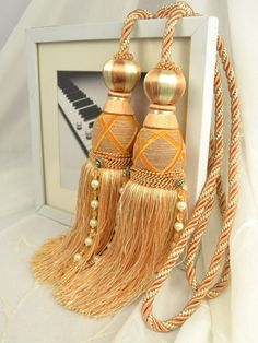 9 Colors QYM44 Polyester Curtain Tassel Tie Backs in Orange Color