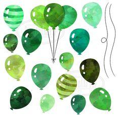 Watercolor Green Balloons Clipart by DigitalArtsi on @creativemarket