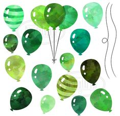 Watercolor Green Balloons Clipart by DigitalArtsi on @creativemarket